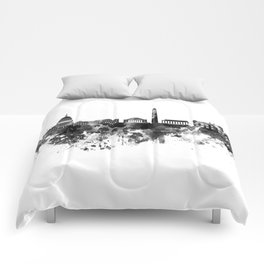 Washington DC skyline in black watercolor on white background  Comforters