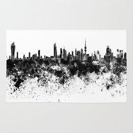Kuwait City skyline in black watercolor Rug