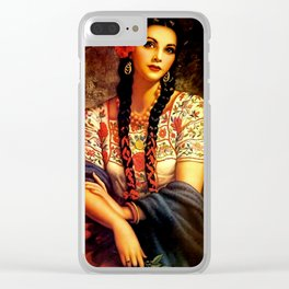 Jesus Helguera Painting of a Mexican Calendar Girl with Braids Clear iPhone Case