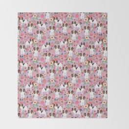 Papillon pet friendly small cute dog breed must have gift for dog lover florals dog pattern print Throw Blanket