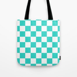 Checkered - White and Turquoise Tote Bag