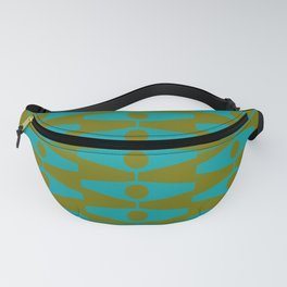 abstract eyes pattern aqua olive Fanny Pack