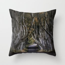 Dark Hedges Alley Throw Pillow