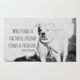 Faithful Friend Proverb Quote Dog Rug