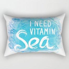 i need vitamin sea White text on blue background, Summer sea shells, molluscs Rectangular Pillow