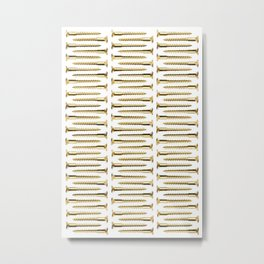 Golden Screws Pattern Poster Metal Print