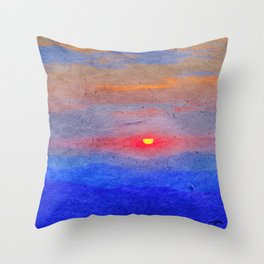 Paper-textured Sunset Throw Pillow