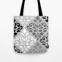 Scroll Damask Ptn Art BW & Grays Tote Bag