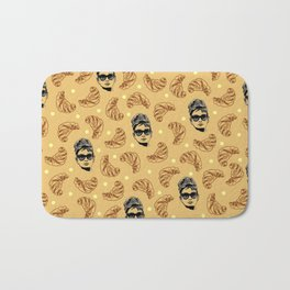 Audrey Hepburn Croissant Tiffanys pattern - Hollywood actress - retro pinup - breakfast - food Bath Mat