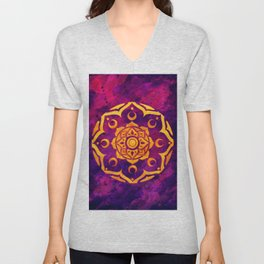 """Witchcraft""  WATERCOLOR MANDALA (HAND PAINTED) BY ILSE QUEZADA Unisex V-Neck"
