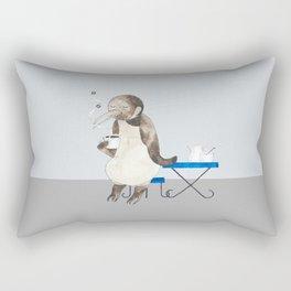 Penguin enjoys coffee Rectangular Pillow