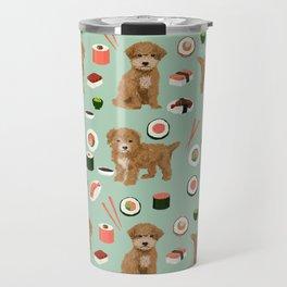 Bichpoo sushi dog breed cute pet portrait pet friendly pattern dog lover gifts Travel Mug