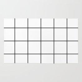 black grid on white background Rug