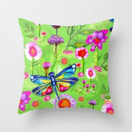 Tropical Dragonfly Garden Throw Pillow