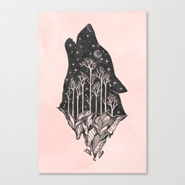 Adventure Wolf - Nature Mountains Wolves Howling Design Black on Pale Pink Canvas Print