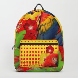 GREEN TROPICAL YELLOW MACAWS & RED YELLOW HIBISCUS Backpack