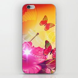 Awesome colorful flowers and butterfly iPhone Skin