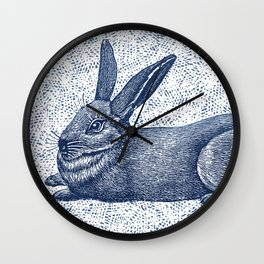 Rabbit print, Vintage Rabbit, Animal Wall Art Wall Clock