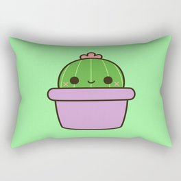 Cute cactus in purple pot Rectangular Pillow