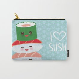 I love sushi. Kawaii funny sushi set with pink cheeks and big eyes, emoji. Blue japanese pattern Carry-All Pouch