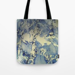 Shadows in Blue and Cream, Marble Tote Bag