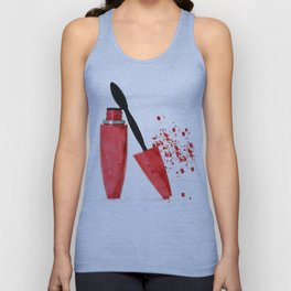 Red mascara fashion watercolor illustration Unisex Tank Top
