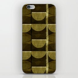 """""""Retro Olive green Chained Circles"""" iPhone Skin"""