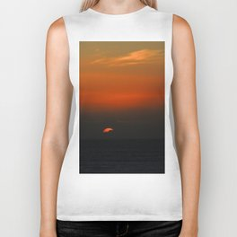 cloudy sunset seascape Biker Tank