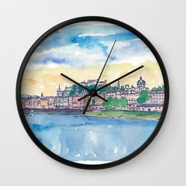 Salzburg Austria River Old Town and Castle Wall Clock