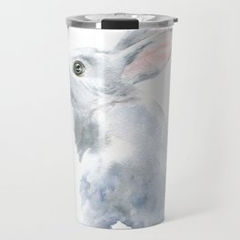 Gray Bunny Rabbit Watercolor Painting Travel Mug