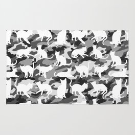 Black and White Catmouflage Camouflage Rug