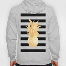 Gold Pineapple Black and White Stripes Hoody