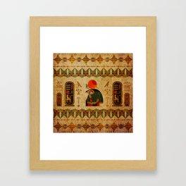 Egyptian Horus Ornament on Papyrus Framed Art Print