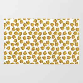 Gold Metallic Foil Photo-Effect Monstera Giant Tropical Leaves Rug