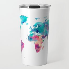 World Map Turquoise Pink Blue Green Travel Mug