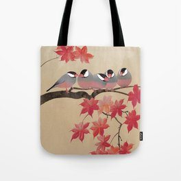 Java Sparrows in Japanese Maple Tree Tote Bag