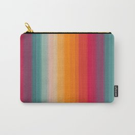 Retro Rainbow Striped Pattern Carry-All Pouch