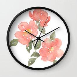 Loose watercolor peonies Wall Clock