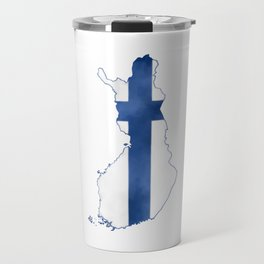 Finland, Suomi map with flag, washed watercolor Travel Mug