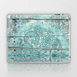 Teal & Aqua Botanical Doodle on Weathered Wood Laptop & iPad Skin