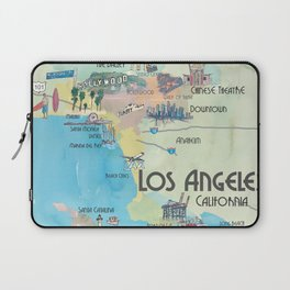 Greater Los Angeles Fine Art Print Retro Vintage Map with Touristic Highlights in colorful retro pri Laptop Sleeve