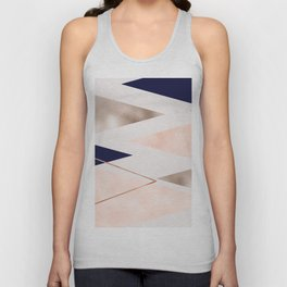 Rose gold french navy geometric Unisex Tank Top
