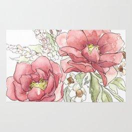 Watercolor Flowers - Garden Roses Rug