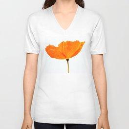 One And Only - Orange Poppy White Background #decor #society6#buyart Unisex V-Neck
