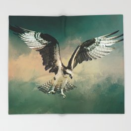 Osprey In Flight Throw Blanket