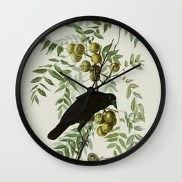 Vintage Crow Illustration Wall Clock