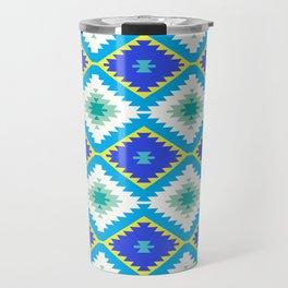 Turkish carpet yellow blue green. Patchwork mosaic oriental kilim rug Travel Mug