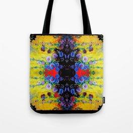 YELLOW GARDEN GOLD BLUE FLOWERS BLACK  PATTERN ART Tote Bag