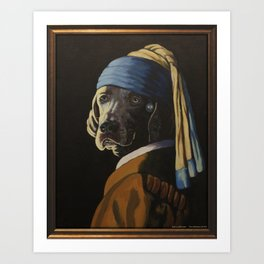WEIMARANER WITH PEARL EARRING Art Print