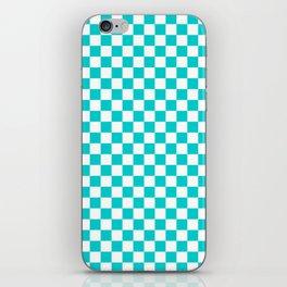 White and Cyan Checkerboard iPhone Skin